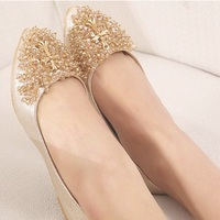 2015 Lady S Luxury Rhinetone 4 To 9 Sequined Cloth Comfortable Silicon Sealant Leisure Pointed Toe