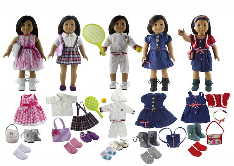 21 Items=5 PCS Doll Clothes+5 Pairs of Socks+5 Pairs of Shoes+4 Bag+1 Racket+1 Ball for 18 American Girl Doll S07