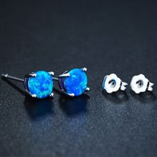pair of graceful rhinestone circle earrings jewelry for women 1 Pair Silver Plated Blue Opal Circle Earrings  6MM Mini Round For Women Fashion Jewelry