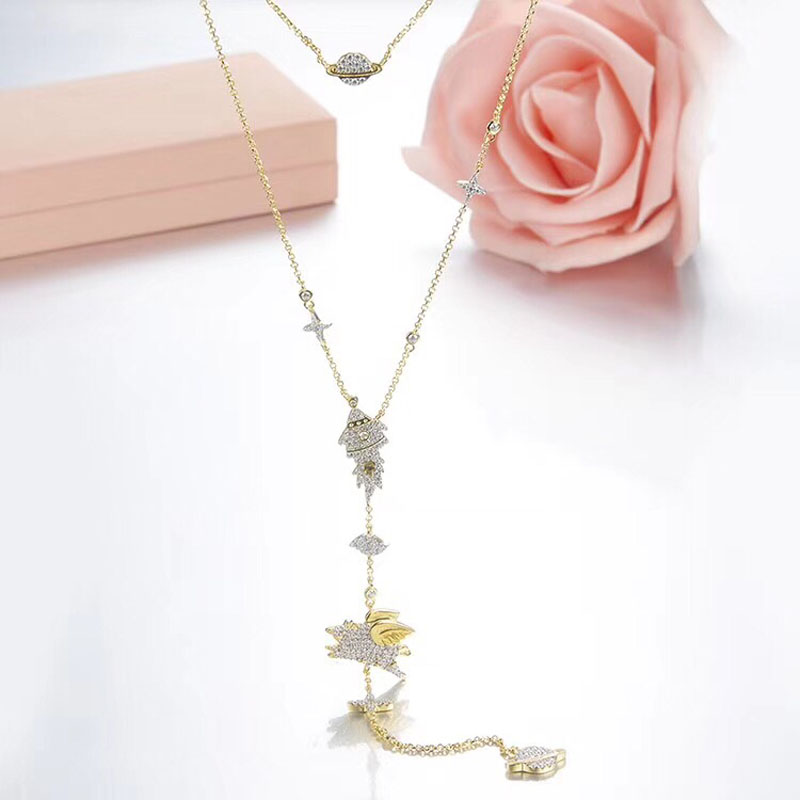 SLJELY Luxury Long 925 Sterling Silver Planet Rocket Space Flying Pig Multilayer Necklace Cubic Zirconia Gold