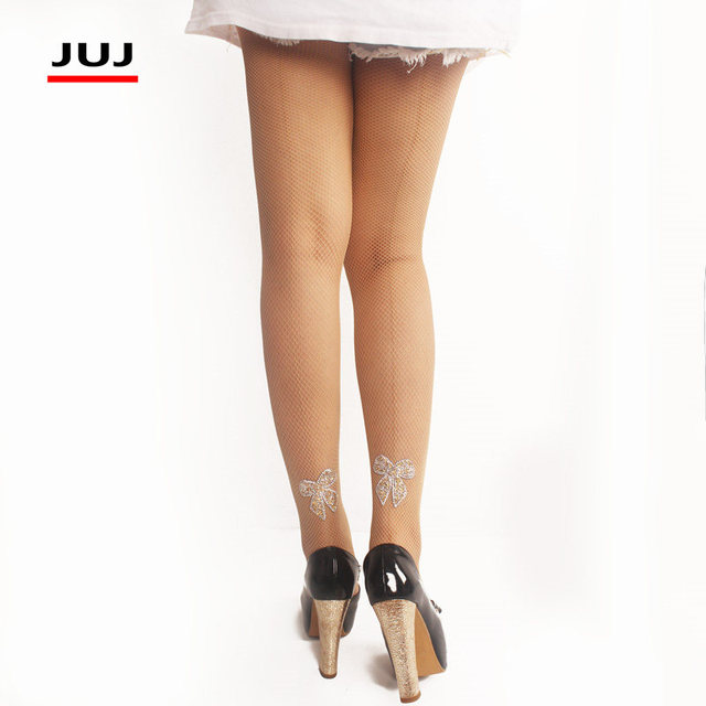 Sexy Fishnet Pantyhose Back Seam Plus Size Women Stockings Lace Sheer Nylon w/Collant Femme Bow 4