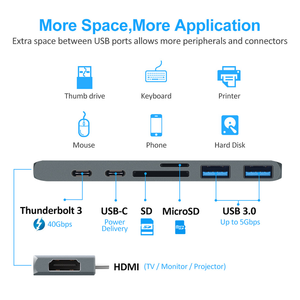 Image 3 - USB 3.0 نوع C محور إلى محول HDMI 4 K الصاعقة 3 USB C محور مع محور 3.0 TF SD قارئ فتحة PD ل ماك بوك برو/الهواء 2018