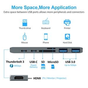 Image 3 - USB 3.0 Tip C Hub hdmi adaptörü Için 4 K Thunderbolt 3 USB Hub ile C Hub 3.0 TF SD okuyucu Yuvası PD için MacBook Pro/Hava 2018