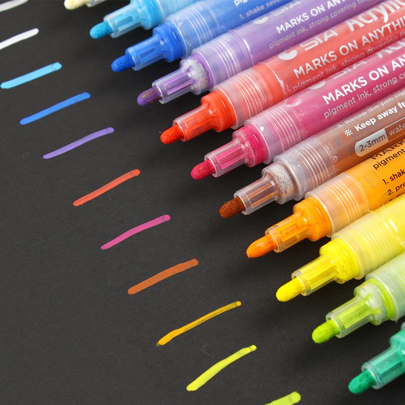 14 Colors STA Waterproof Metallic Acrylic DIY Paint Highlighter Marker Pen Sketch Drawing Craft Scrapbook