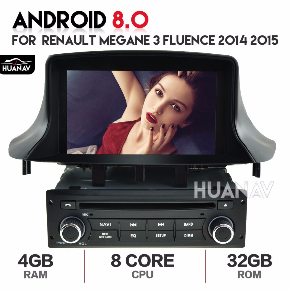 Car Radio 2 din DVD player <font><b>GPS</b></font> Navigation multimedia For Renault <font><b>Megane</b></font> <font><b>3</b></font> Fluence 2014 2015 <font><b>GPS</b></font> Android 8.0 8 core autostereo image