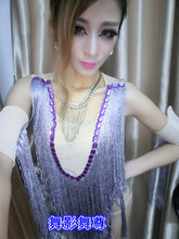 2016 Ds Costume Nightclub Dj Jazz Dance Costumes Purple Jumpsuit Tassels