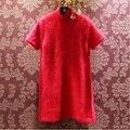 Бесплатная доставка реального норки кашемировый свитер женщин с длинным норки кашемира Пуловеры чистый кашемир платье подгонять размер S271
