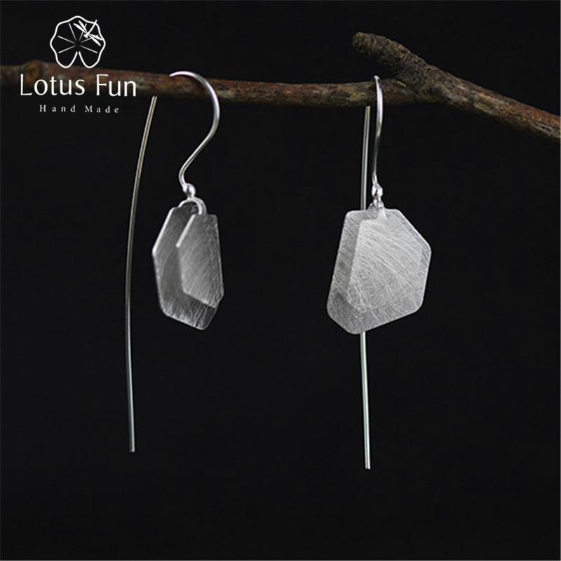 Lotus Fun Real 925 Sterling Silver Natural Creative Handmade Fine Jewelry Irregular Polygon Dangle Earrings for Women Brincos