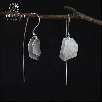 3e183b2f6089 Lotus Real 925 plata esterlina Natural creativa hecha a mano joyería fina  polígono Irregular pendientes para las mujeres Brincos