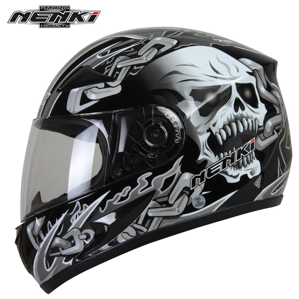ФОТО NENKI  Motorbike Motorcycle Full Helmet Men Women Motocross Racing Helmet Motocicleta Sport Safety Helmet with Windproof Scarf