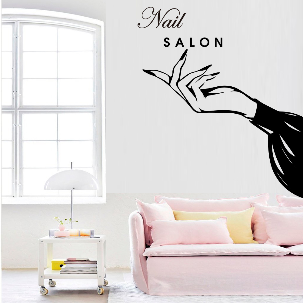 Us 2 87 12 Off Exquisite Nail Salon Vinyl Wall Stickers Beauty Salon Decor For Girls Bedroom Decoration Mural Shop Window Galss Wallstickers In Wall