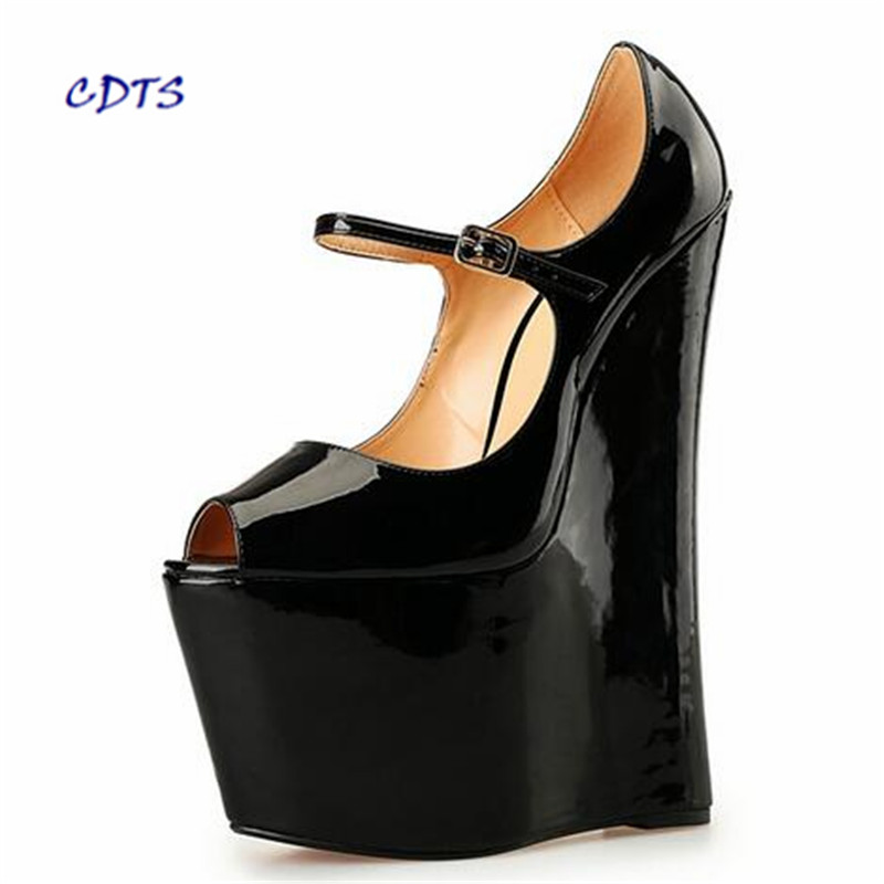 CDTS sapato feminino Plus size:40-45 46 47 48 Summer Sandals Ultra High 22cm wedges Pumps platform women Buckle Peep Toe shoes cdts king size 44 45 46 47 48 49 women party sandals 2017 summer gold bottoms 13cm thin high heels mujer shoes pointed toe pumps