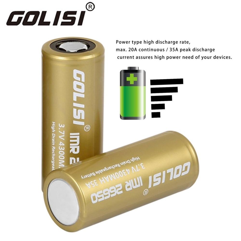 Golisi 26650 Au Lithium Ion Batterie Protégée 3.7 V Haute Vidange 4300 mAh Rechargeable Batterie pour Projecteurs LED lampe de poche torche