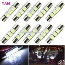 10Pcs/lot White T6 5050 29mm 3-SMD LED Bulb For Car Sun Visor Vanity Mirror Fuse Light G08 Drop ship