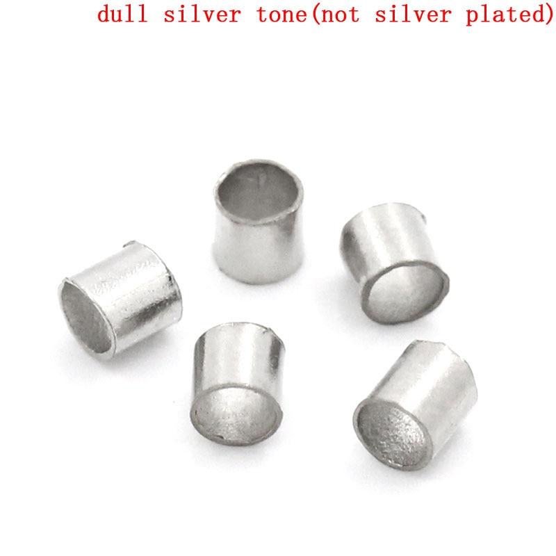 DoreenBeads Alloy Crimp Beads Round Silver Tone 1.1mm 2mm(1/8