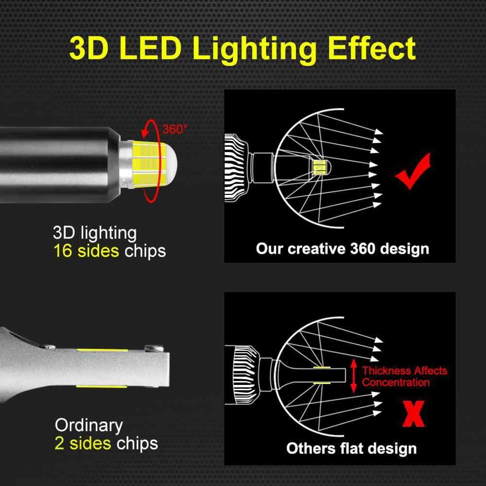 2Pcs 16 Sides 3D LED Car Headlights Bulbs H11 H7 Led H8 H1 HB3 9005 HB4 9006 50W 6000K 18000LM Automotive Fog Lights Auto Lamp