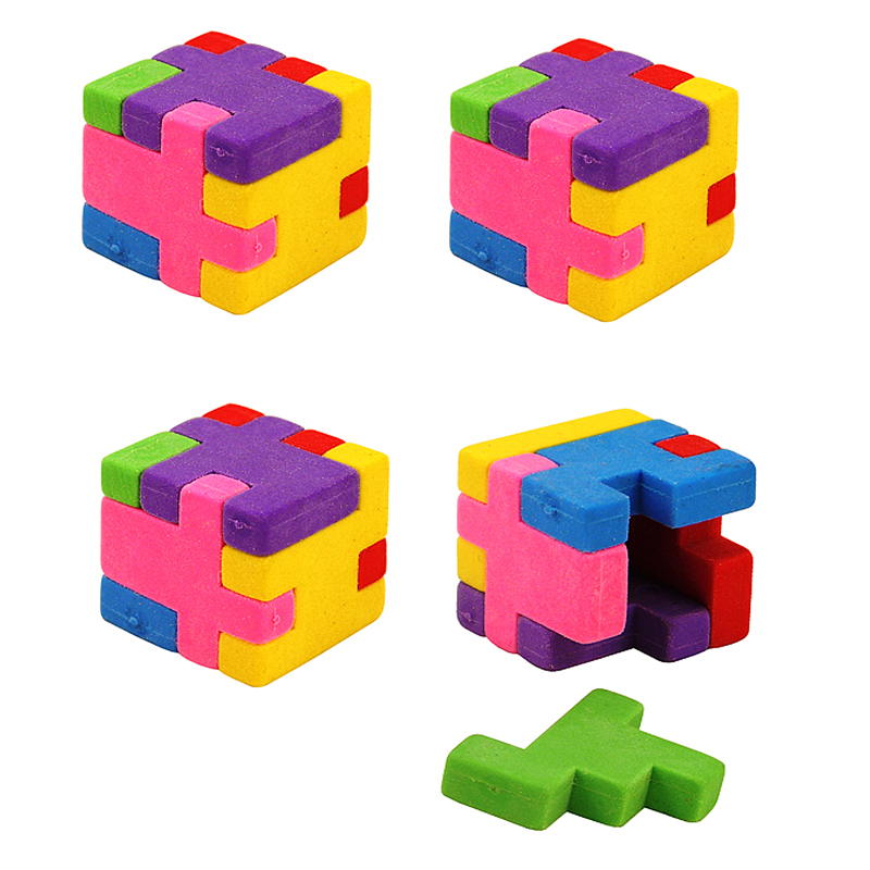 Free ship 2 4 <font><b>6</b></font> <font><b>12</b></font> <font><b>24</b></font> creative cute Children School Puzzle Cube Eraser for Kids Party Bag pinata Filler Reward Prize favors image