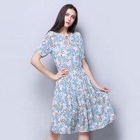 100 Silk Crepe Dress Light Blue Floral Printed Short Sleeve Summer Dresses Wholesale Online Store