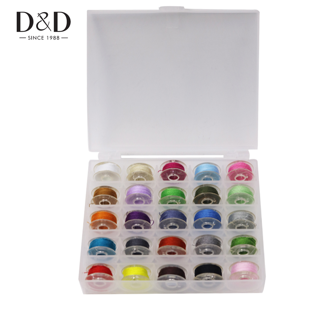 D&D Practical Plastic Coil box with 25 Colorful Sewing Thread Bobbin Storage Box Sewing Machine Accessories Set