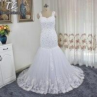 Spaghetti Dây Đeo Ngọc Trai Nặng Beading Mermaid Cộng Với Kích Thước Wedding Dress Đính Bridal Gowns vestidos de noiva sereia