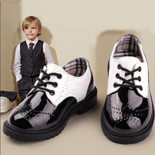 British Toddler Boys Girls Leather Shoes Fashion Sneakers Teenage Student black white Performance shoes kids zapatos