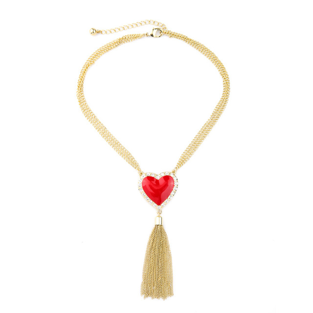 Chic Multichain Necklace Tassel Pendant Resin Red Heart Necklace