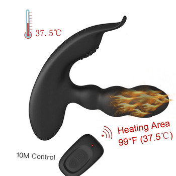 Masajeador de próstata con carga USB calentado 360 grados Sexo vibrador de Control remoto inalámbrico para hombres juguetes sexuales para adultos