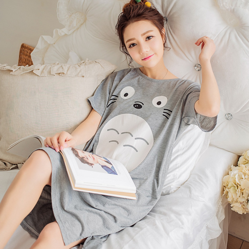 2018 New Summer Lady Long   Nightgown     Sleepshirts   Cute Lovely Cartoon Animal Sleepwear Short Sleeve Cotton Women Nightdress Pijama