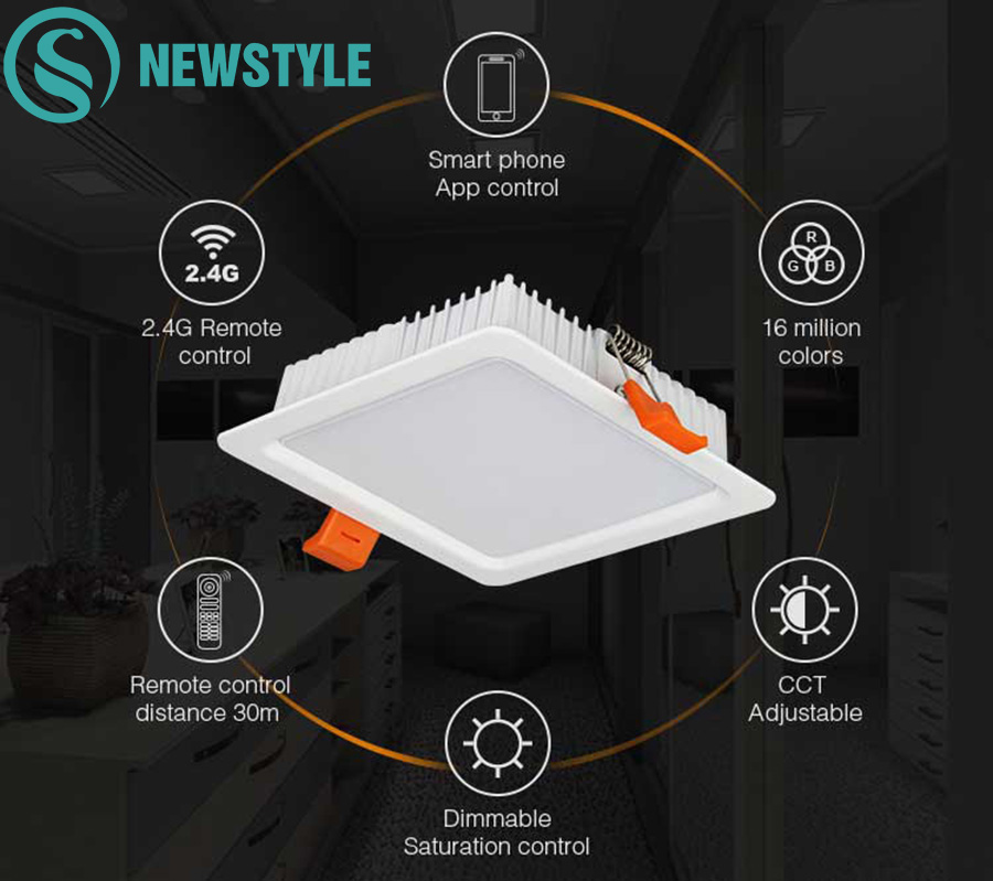 Milight 9W RGB CCT Square LED Downlight AC100~240V Dimmable Smart Phone App Control Led Downlight