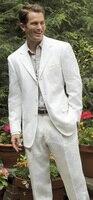 Designs Coat Pant mới nhất Trắng Linen Nam Suit Casual Slim Fit 2 Piece Blazer Lỏng Tuỳ Prom Đảng Tuxedo Terno Áo + Quần Z