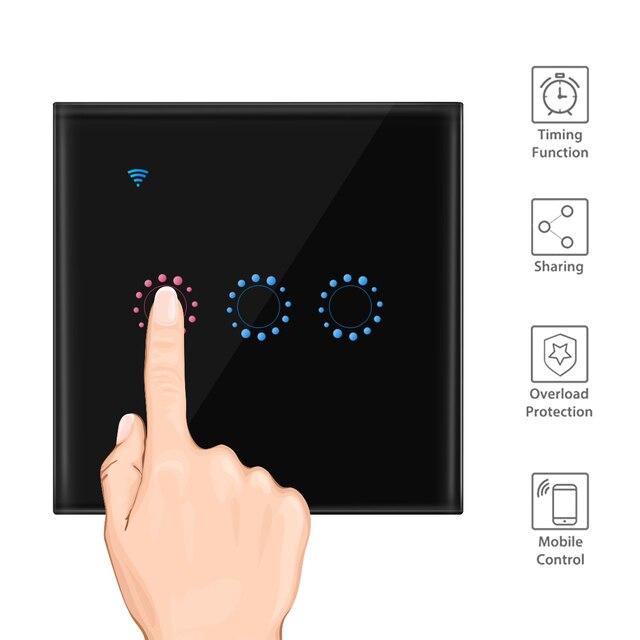Panel de interruptor de luz de pared táctil WiFi 1/2/3 Gang interruptor de pared inalámbrico soporte de sincronización y Control remoto trabajar con Alexa Google Home