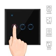 Wifi Touch Muur Lichtschakelaar Panel 1/2/3 Gang Draadloze Wandschakelaar Ondersteuning Timing En Afstandsbediening werken Met Alexa Google Thuis