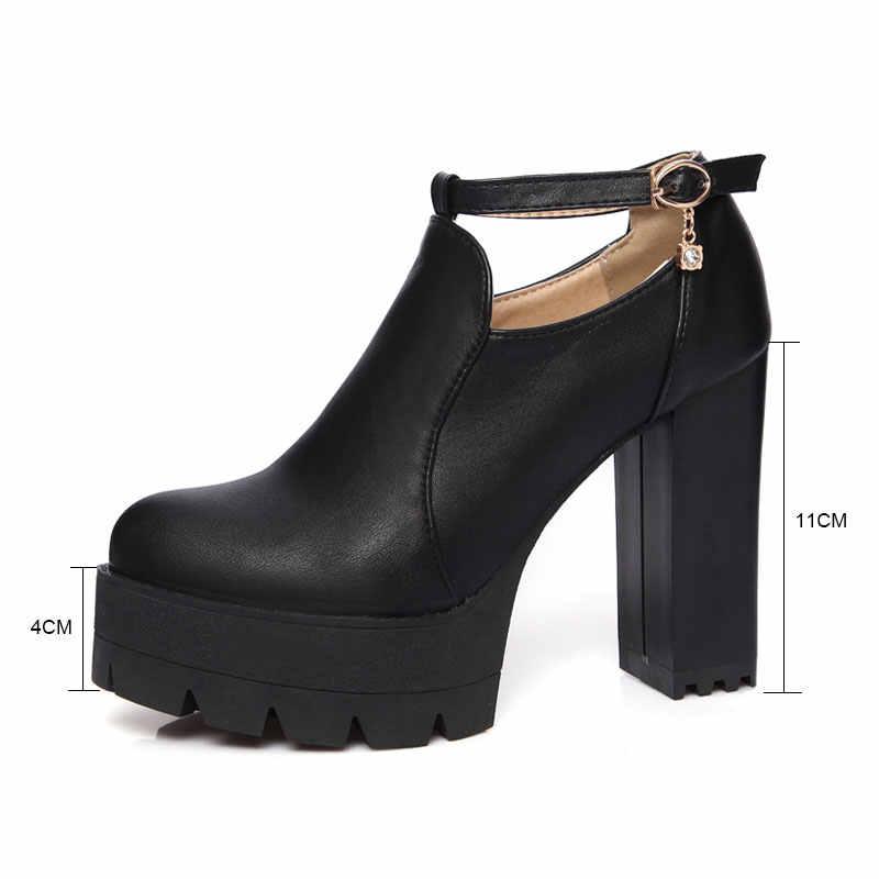 Fanyuan Thời Trang Hình Vuông Màu Trắng Siêu Cao gót Mùa Thu giản dị Tinh Thể Khóa Dây Đeo giày nền tảng Màu Đen giày mùa xuân Giải Trí bơm