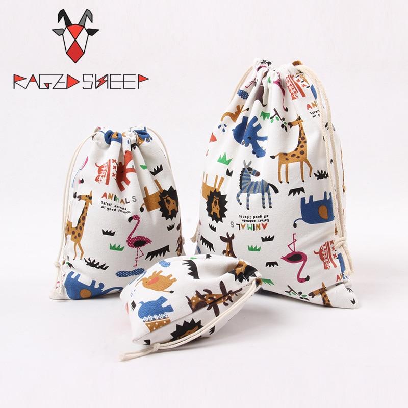 Raged Sheep Fashion Drawstring Cotton Grocery Shopping Bags Folding Shopping Cart Eco Grab Reusable Zoo Printed