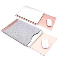 Impermeable 11,6 12 13,3 portátil de 15,4 pulgadas manga fieltro cuero Portátil Bolsa para macbook air pro 11 12 13 15 caso SY010