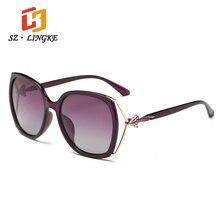 Szlingke Защита от солнца Очки поступление поляризационные модельер бренда шт FOX Рамка женщина Солнцезащитные очки для женщин Ретро вождения дамы глаз Очки УФ