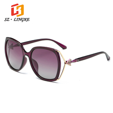 SZLINGKE Sun Glasses Arrival Polarized Fashion Designer Brand  PC Fox Frame Woman Sunglasses Retro Driving Ladies EyeGlasses UV