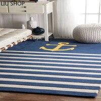 acrylic modern minimalist Mediterranean anchor design living room sofa tea table carpet bedroom rug Navy wind big mat