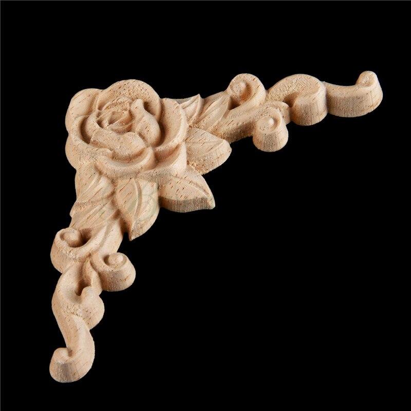 bowarepro wood wall carving Decal for furniture decoration Rose floral wooden Applique carved decoration Crafts 8*8cm 1pcs набор кухонный marvel rose wood 8 предметов