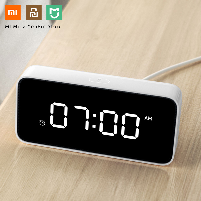 Original Xiaomi Smart Alarm Clock Voice Broadcast Xiaoai Clock ABS Table Dersktop Clocks AutomaticTime Calibration Mi