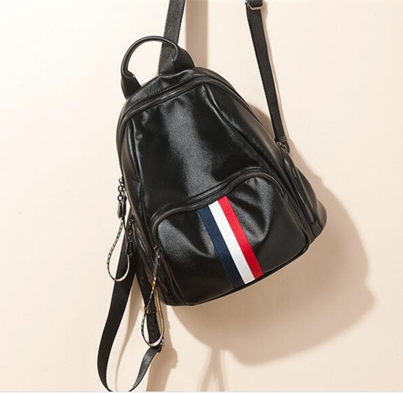 Fashion Bag Women Casual Backpacks Preppy Style School Bags For Girl mochila feminina Navy Stripes Leather bagpack  D533 doodoo fashion streaks women casual bear backpacks pu leather school bag for girl travel bags mochilas feminina d532