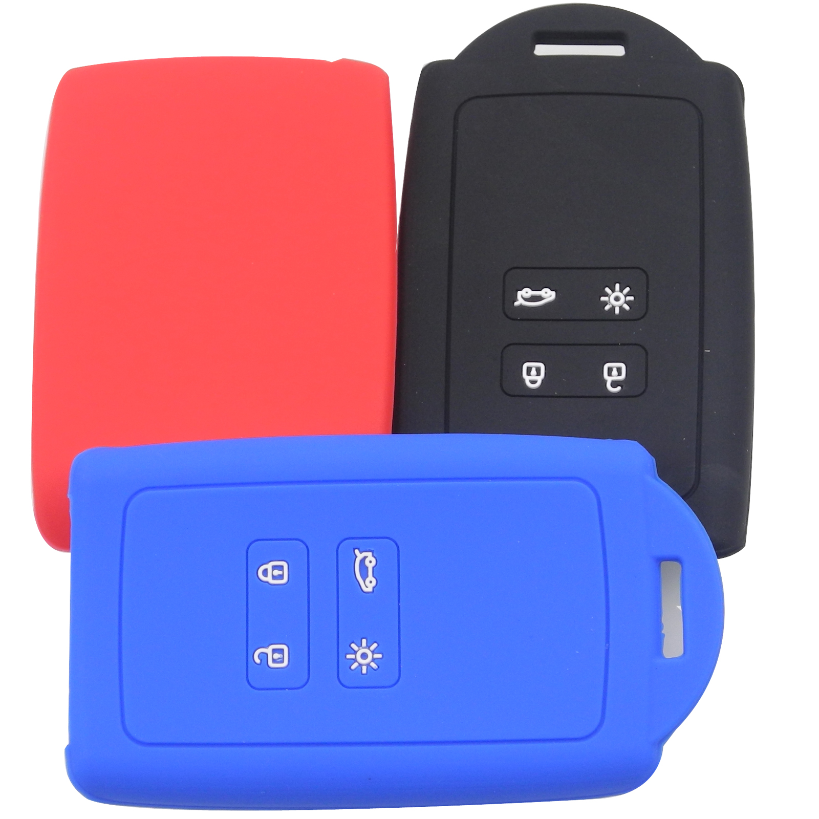Jingyuqin Silicone Key Fob Cover Case Holder For Renault Koleos Kadjar Megan 2016-2017 Card Remote Keyless