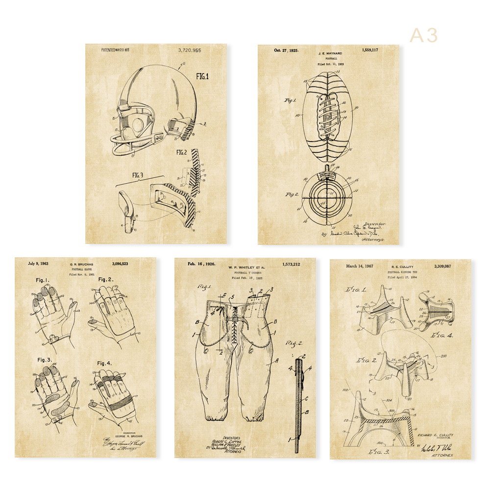 Vintage patent art American football Rugby helmet trousers kicking tee gloves armor poster 5 in 1 for wall frame