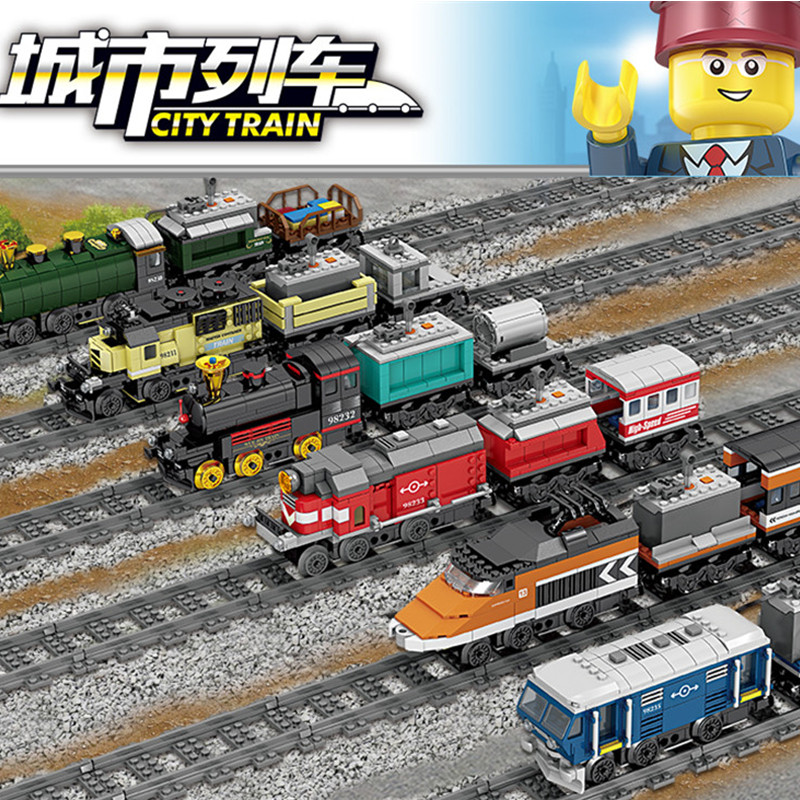 NEWEST City Train Battery Powered Electric High-Speed Rail Building Blocks Compatible LegoINGLs Technic Bricks Toys For Children