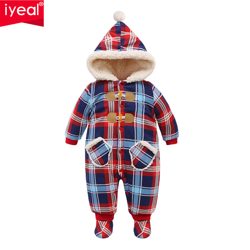 IYEAL Christmas Baby Girl Clothes Winter Rompers Kids Infant Newborn Plaid Jumpsuit Thickening Cotton Warm Romper for 0 18M
