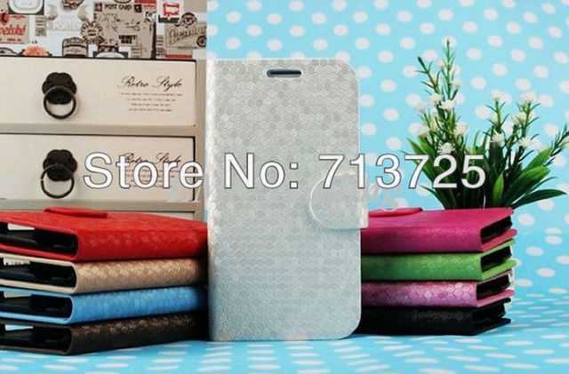 Luxury Diamond Pattern Wallet Stand Leather Case with Card Slot for Samsung Galaxy S4 i9500, PU Filp Case 9 Colors free shipping