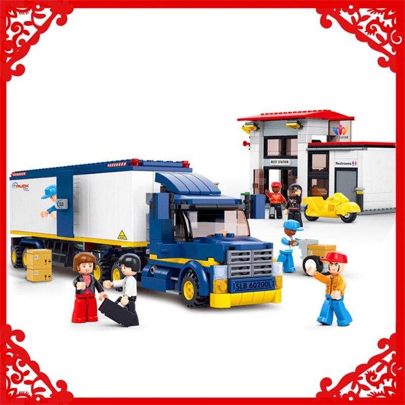 SLUBAN 0318 537Pcs Container Cargo Truck Gas Station Building Block Construction Figure Toys Gift For Children Compatible Legoe 0367 sluban 678pcs city series international airport model building blocks enlighten figure toys for children compatible legoe