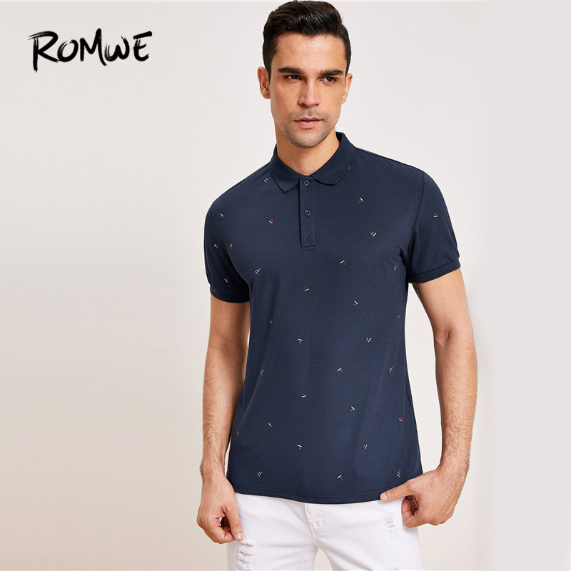 ROMWE Men Navy Sailboat Print Half Placket Casual Poloshirt Male Summer Short Sleeve Collar Leisure   Polos   Top