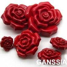 8 шт./лот, романтические пуговицы для шитья красной розой, пуговицы для скрапбукинга(ss-1411-450
