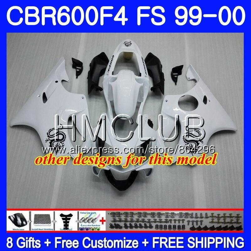 Carrosserie Pour HONDA CBR600F4 CBR600 F 4 RR CBR600 F4 99 00 60HM17 CBR 600F4 CBR 600 FS Chaude blanc blk CBR 600 F4 1999 2000 Carénage - 5